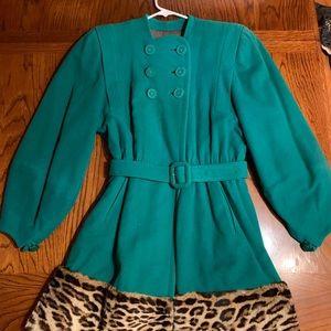 Vintage 1940's green wool and fur trim coat